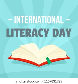 Open book literacy day background. Flat illustration of open book literacy day vector background for web design