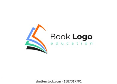 Open Book Logo Education Flat Vector Design