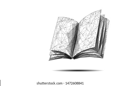 Open book low poly vector illustration on white. 3d encyclopedia. Polygonal textbook, dictionary. Education, information, knowledge metaphor mesh art with connected dots. Reading hobby concept