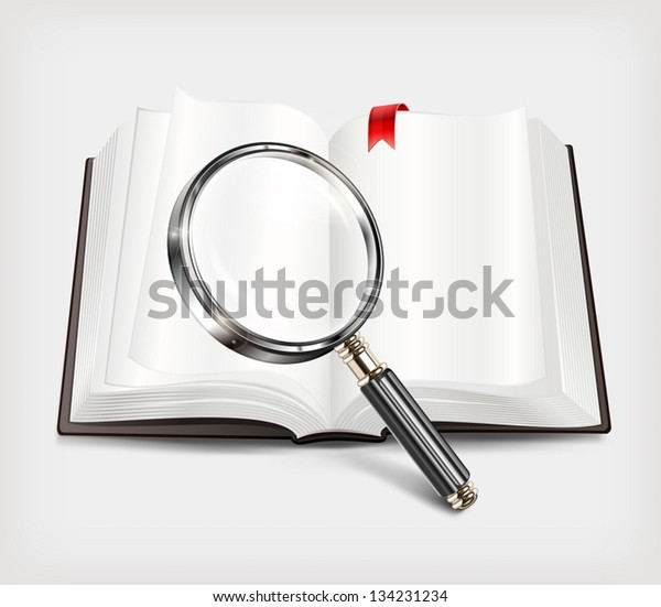 Open book and magnifying glass on white background. Vector Illustration.