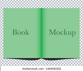 Open book mock up isolated on transparent background. White blank cover. 3D realistic book, notepad, diary etc