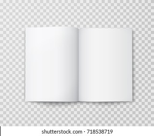 Open book mock up isolated on transparent background. Realistic blank vertical booklet, catalog template, magazine, brochure or notebook mockup for your design