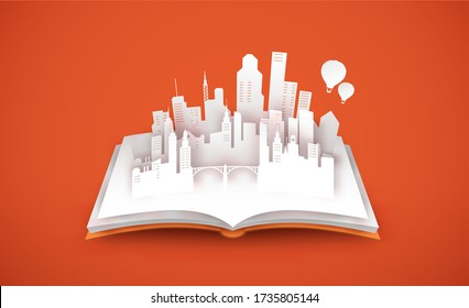 Open book with modern city skyline in 3d paper cut style. Empty white town papercut illustration for real estate business, architecture planning or education concept.
