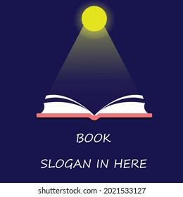 open book moon shining dark blue background vector book logo book concept illustration library book
