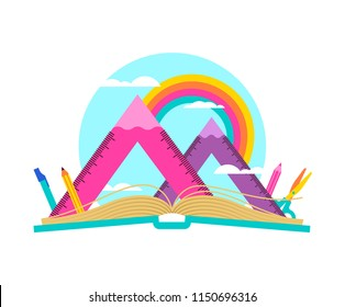Open book with mountain landscape made of squad ruler and pencils. Math geometry subject equipment on rainbow sky for school learning concept.  EPS10 vector.