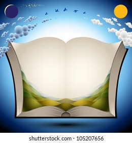 Open book with nature landscape illustration and copy space for your text, vector illustration.