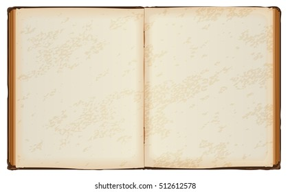 Open Book With Old Blank Pages Isolated On White Vector Illustration