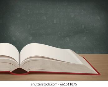 Open book on the background of a chalkboard. Back to school. Education and reading concept. Vector illustration