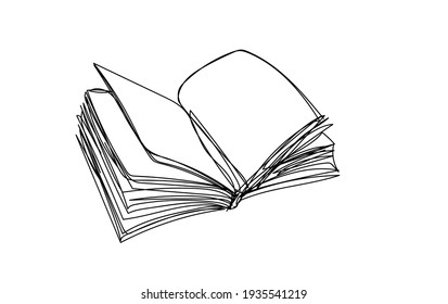 open book on white background, line drawing style, vector design