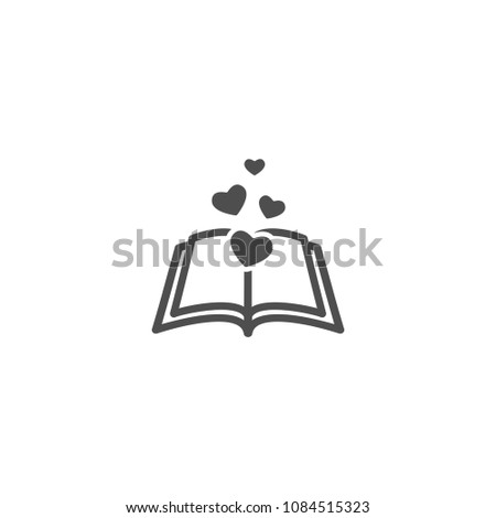 Open Book With Pages And Hearts Flying Out Isolated On White Background Bibliophile Flat