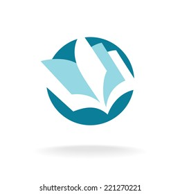 Open book pages logo template