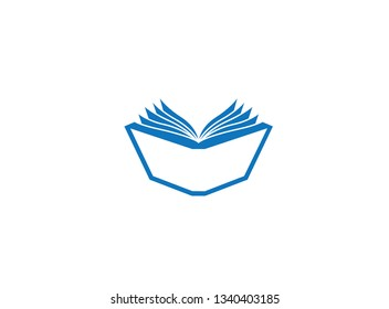 Open book pages and papers for logo design illustration