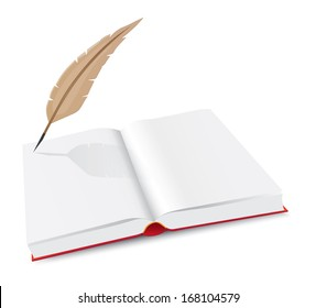 Open book and pen on white background