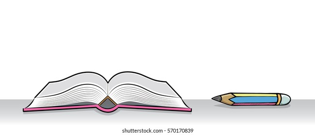 Open book and pencil. Drawing of stationery on the table in doodle style. Concept for education.