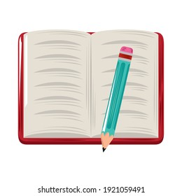 open book and pencil supplies icon flat design vector illustration