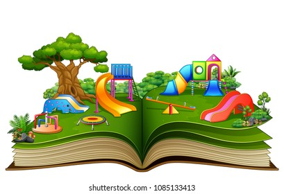 Open book with playground on a white background