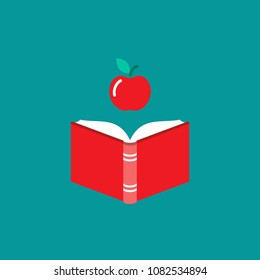 Open book with red book cover and red apple.  Isolated on blue background. Flat icon. Vector illustration. Science reading logo. Education and knowledge symbol