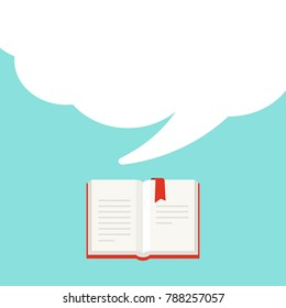 Open book with red book cover and red bookmark and big  white speech bubble flying out.  Isolated on powder blue background.  Flat reading icon. Vector illustration. quotation logo. tip, hint, prompt