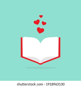 Open book with red cover and red hearts flying out. Isolated on blue background. bibliophile flat icon. Vector illustration. Love reading logo. Romantic book. St. Valrntine card