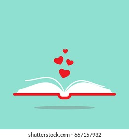 Open book with red cover and red hearts flying out. Isolated on turquoise background. Bibliophile, book lover flat icon. Vector illustration. Love reading logo. Romantic book pictogram.