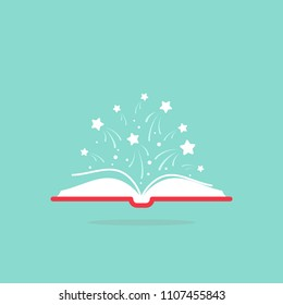 Open book with red book cover and white stars flying out.  Isolated on powder blue background. Flat icon. Vector illustration. Magic reading logo. Fairytale,  Book for kids