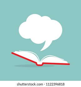 Open book with red book cover and white speech bubble flying out.  Isolated on powder blue background.  Flat reading icon. Vector illustration. quotation logo. tip, hint, prompt. School, education
