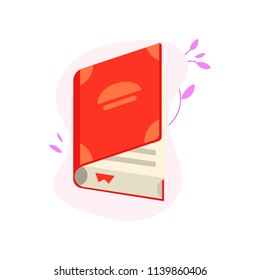 Open book with red hardcover and paper pages with bookmark isolated on white background with decoration - literary object for education or reading leisure in flat vector illustration.