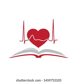 open book and red heart line