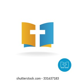 Open book with religion cross symbol logo