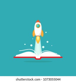 Open book with rocket ship flying out. Isolated on blue background. Vector flat illustration. reading and learning power logo. Imagination, inspiration, Fantasy. Knowledge day. School graduation