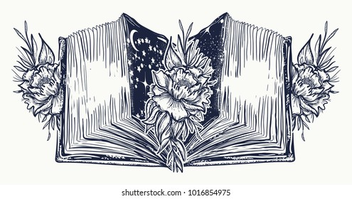 Open book and roses flowers  tattoo and t-shirt design. Symbol of education, literatures, poetry, reading
