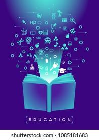 Open book of school education technology. School icons set.