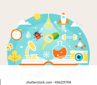 Open Book with Science and Nature Study Symbols. Education Concept