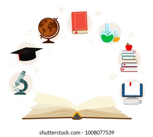 Open book with set elements knowledge icons isolated on white background. Education concept infographic. Vector illustration.