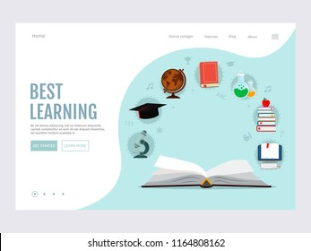 Open book with set elements knowledge icons. E-learning, online education, e-book. Modern vector illustration concepts for website.