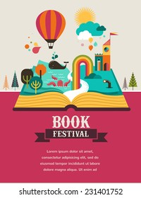 Open Book with set of vector fairy tale elements, icons and illustrations