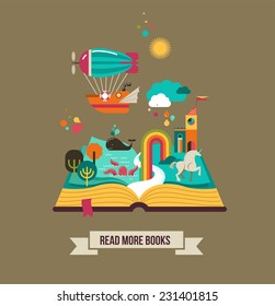 Open Book with set of vector fairy tale elements, icons and illustrations, book festival poster, book cover design