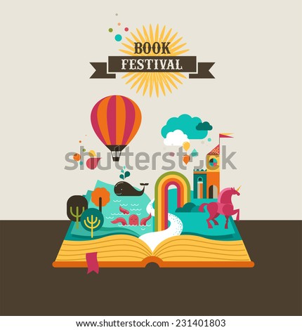Open Book With Set Of Vector Fairy Tale Elements Icons And Illustrations Cover