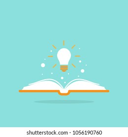 Open book with shining bulb flying out.  Flat icon isolated on powder blue background. Flat icon. Vector illustration. Idea logo. Inspiration pictogram. Power of knowledge sign.