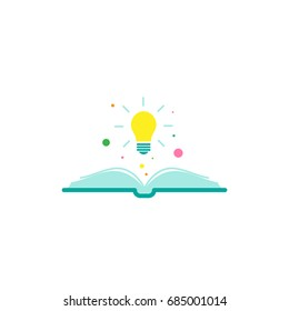 Open book with shining bulb flying out.  Flat icon isolated on white background. Flat icon. Vector illustration. Idea logo. Inspiration pictogram. Power of knowledge sign.