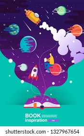 open book, space background, school, reading and learning , Imagination and inspiration picture. Fantasy and creative ,Galaxy ,Vector flat illustration.