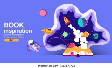 open book, space background, school, reading and learning , Imagination and inspiration picture. Fantasy and creative ,Vector flat illustration.