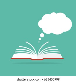 Open book with a speech or dialog cloud from above. Reading books and discussing the concept.