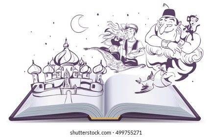 Open book story tale Magic lamp Aladdin. Arab tales Alladin, genie and Princess. Isolated on white vector cartoon illustration