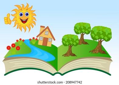 open book with summer landscape, vector illustration