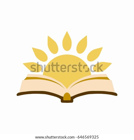Open Book Sun Symbol Knowledge Day Stock Vector Royalty Free