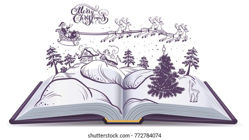 Open book tale about Christmas. Santa and deer in sky above winter forest. Isolated on white vector illustration