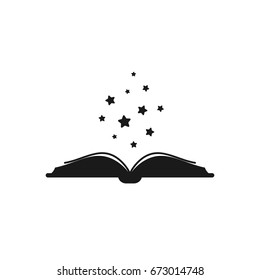 Open book with thick book cover and black soft stars flying out.  Isolated on white background. Flat icon. Vector illustration. Magic reading logo. Fairytale pictogram. Power of knowledge sign.