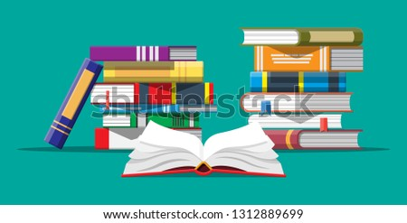 Open book with an upside down pages and pile of books. Reading, education, e-book, literature, encyclopedia. Vector illustration in flat style