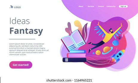 Open book, user flying in space among planets. Ideas and fantasy concept landing page. Inspiration and creative thinking, imagination and vision, motivation, violet palette. Vector illustration.
